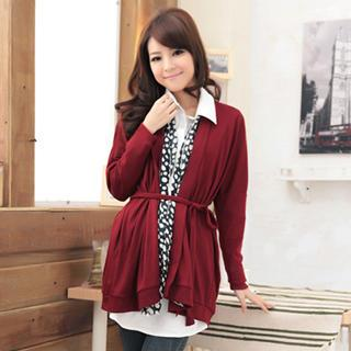 Open-front Long Cardigan With Sash