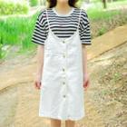 Spaghetti-strap Buttoned Jumper Dress