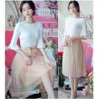 Set: Brooch + A-line Midi Skirt + Elbow-sleeve Knit Top