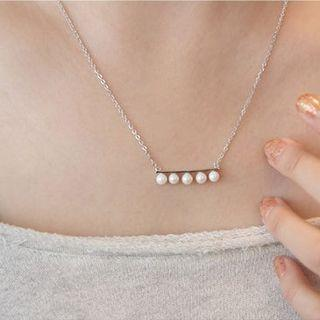 925 Sterling Silver Faux Pearl Bar Necklace 925 Sterling Silver - White Gold - One Size