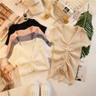 Short-sleeve V-neck Drawstring Knit Top
