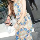 Patterned Halter Chiffon Dress