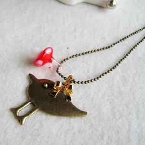 Copper Cute Little Bird Necklace