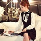 Wool Blend V-neck Jumper Dress