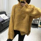 Dotted Turtleneck Chunky Knit Sweater