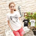 Bow Ring-print T-shirt