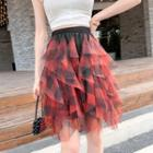 Ruffled Chiffon Plaid Mini Skirt