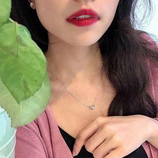 Copper Heart Pendant Necklace Silver - One Size