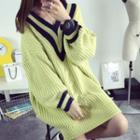 Cable Knit V-neck Long Sweater