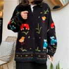 Embroidered Cardigan Black - One Size