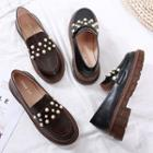 Faux Pearl Accent Loafers