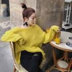 Long Sleeve Plain Knit Sweater