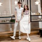 Couple Matching Patterned Short Sleeve Polo Shirt / Sleeveless Midi Dress