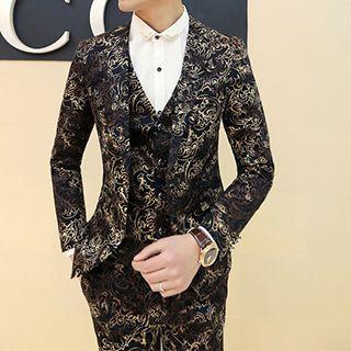 Set: Jacquard Blazer + Vest + Dress Pants
