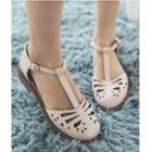 Perforated T-strap Closed Toe Sandals