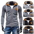 Contrast Trim Zipped Hooded Top