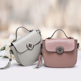 Genuine-leather Flap Tassel Cross Bag
