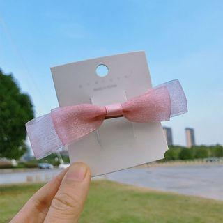 Ribbon Bow Hair Clip Pink - One Size