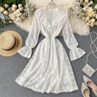 Flared-cuff Ruffled Midi A-line Lace Dress