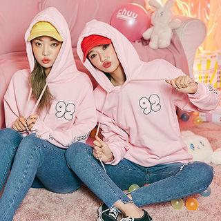 Lettering Bunny Print Hooded Pullover