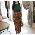 Wrap-front Floral Long Skirt