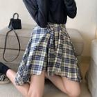 Long-sleeve Plain T-shirt / Plaid Skirt