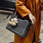 Bear Accent Faux Leather Shoulder Bag