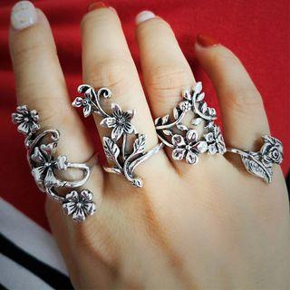 Set Of 4: Flower Open Ring Silver - One Size