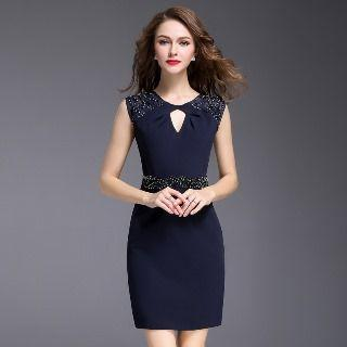 Keyhole Embellished Sheath Dress