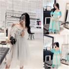 Short-sleeve Cold Shoulder A-line Midi Dress