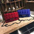 Chain Strap Velvet Quilted Crossbody Bag