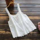 Wide Strap Eyelet Lace Top