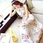 Sleeveless Maxi Floral Chiffon Dress