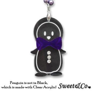 Bowtie Penguin With Violet Pearl Silver Long Necklace
