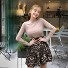 Frilled Flared Leopard Miniskirt