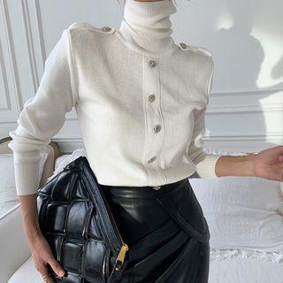 Turtleneck Knit Top / Faux Leather Midi Pencil Skirt