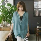 Button-back Chiffon Blouse