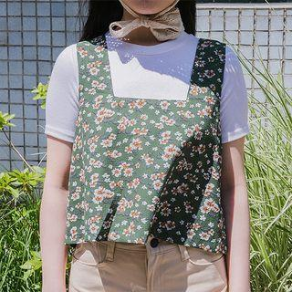 Sleeveless Floral Print Cropped Top