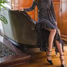 Asymmetric-hem Floral Maxi Dress With Sash