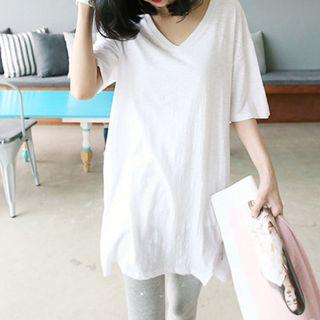V-neck Zip Elbow-sleeve T-shirt
