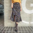 Button-detail Pattern Midi Skirt