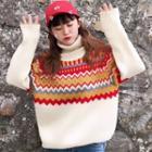 Turtleneck Patterned Panel Sweater
