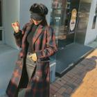 Wool Blend Plaid Chesterfield Coat
