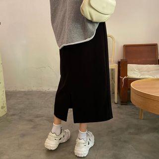 Plain Slit-back Knit Skirt