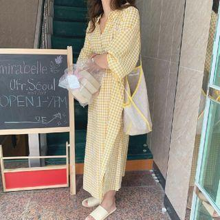 Gingham Lantern-sleeve Midi Shift Dress Yellow - One Size