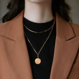 Stainless Steel Disc Pendant Layered Choker Necklace Gold - One Size
