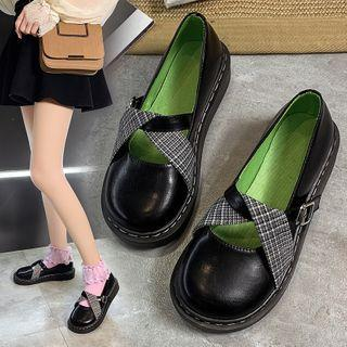 Buckled Plaid Panel Mary Jane Flats