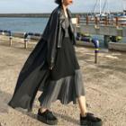 Asymmetric Pleated Panel A-line Midi Skirt