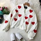 Heart Applique Zip Jacket