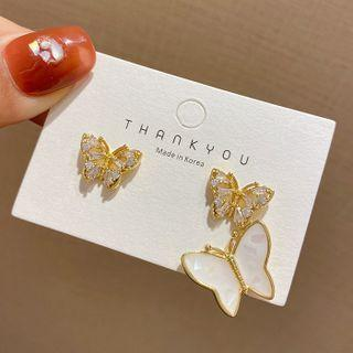 Butterfly Rhinestone Glaze Asymmetrical Dangle Earring 1 Pair - E4282 - 925 Silver - Gold & White - One Size